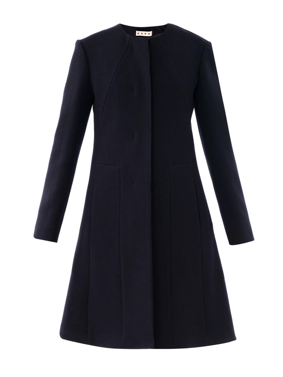 Marni Collarless Washed Wool Coat in Blue | Lyst