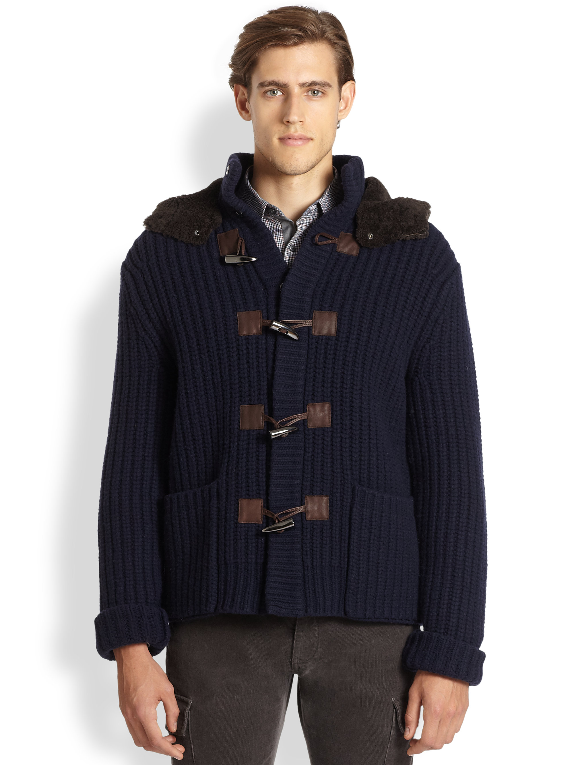 Michael kors Hooded Wool Toggle Sweater in Blue for Men | Lyst