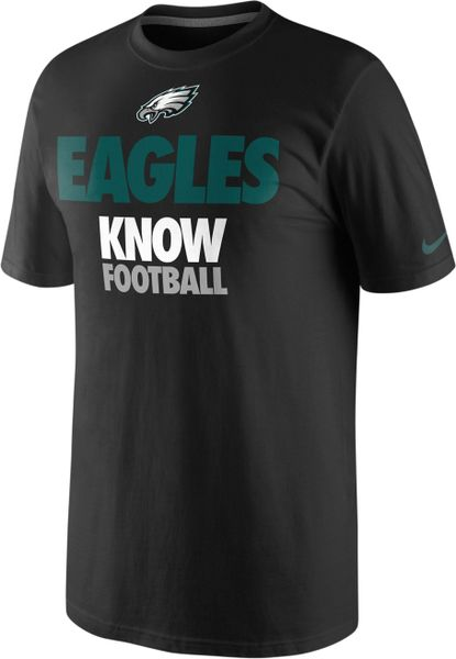 Nike nfl eagles know football t shirt in black for men lyst for Eagles football t shirts
