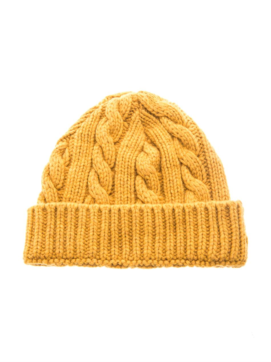 b78bc2c7b54 Lyst - Oliver Spencer Cable Knit Beanie Hat in Yellow for Men