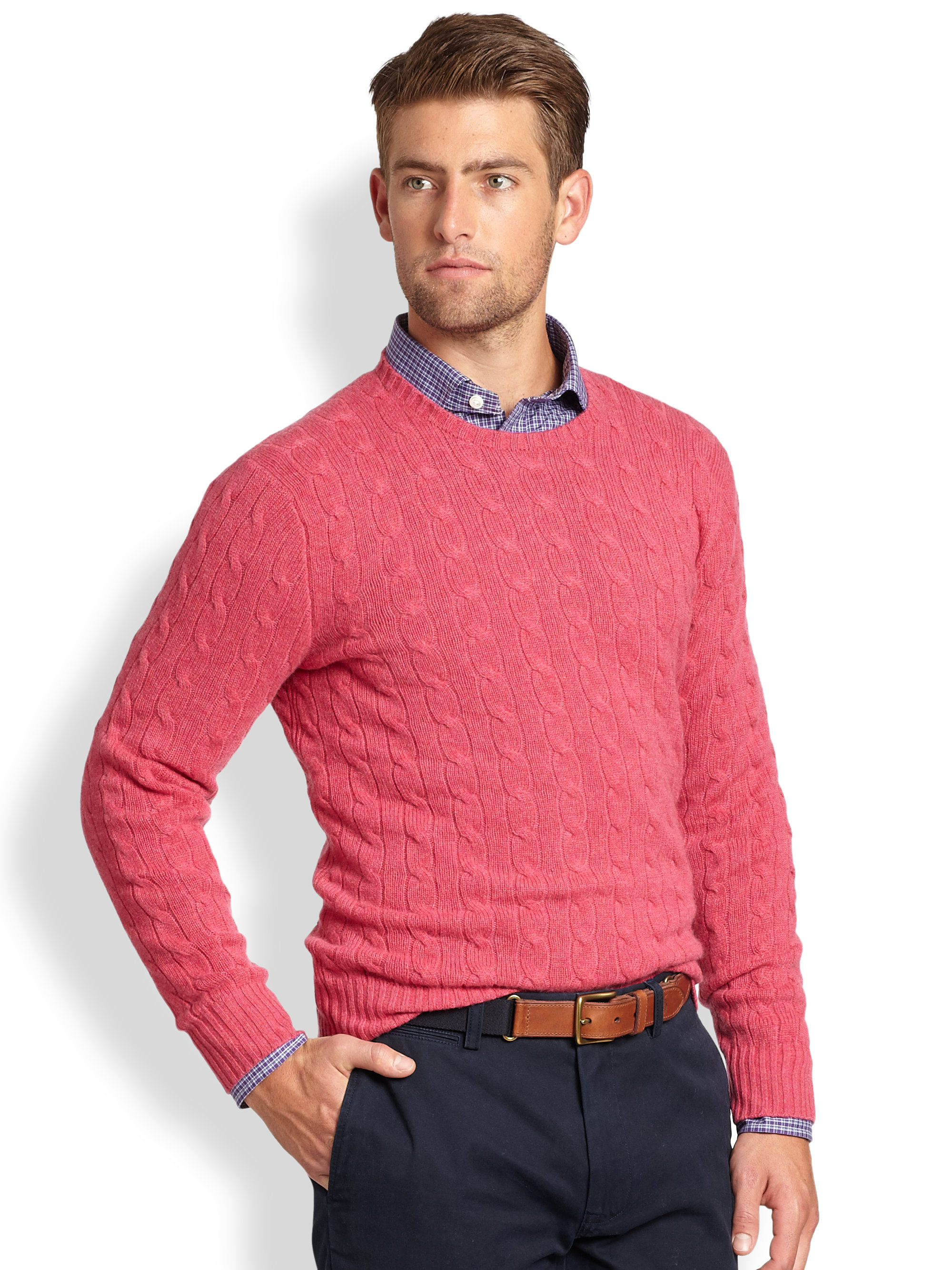 cf511caaa54 Polo Ralph Lauren Red Cable Knit Cashmere Crewneck Sweater for men