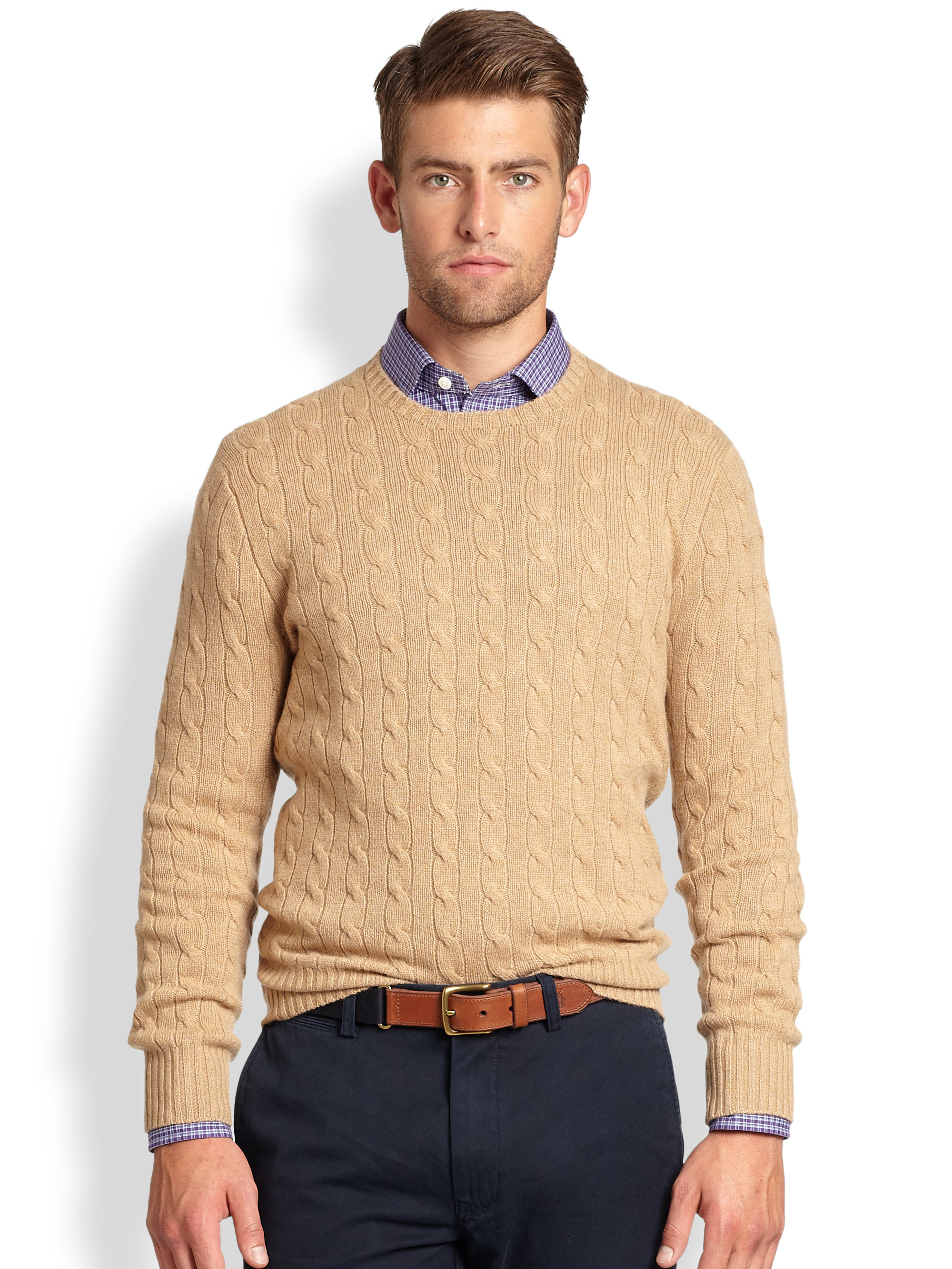 Polo ralph lauren Cable Knit Cashmere Crewneck Sweater in Natural ...