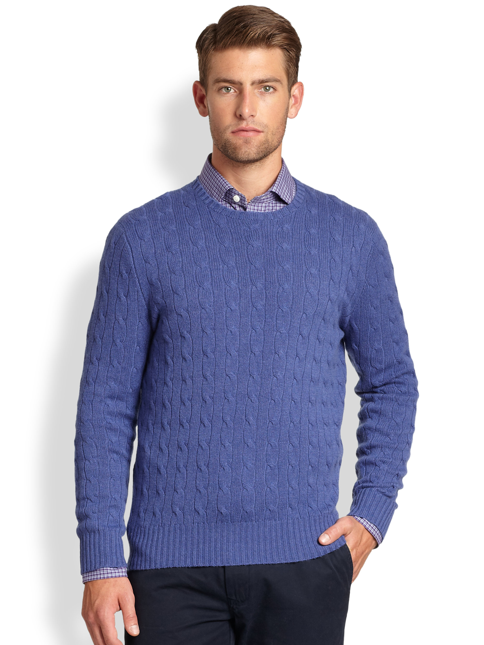 11fa1c603e Polo Ralph Lauren Cable Knit Cashmere Crewneck Sweater in Blue for ...