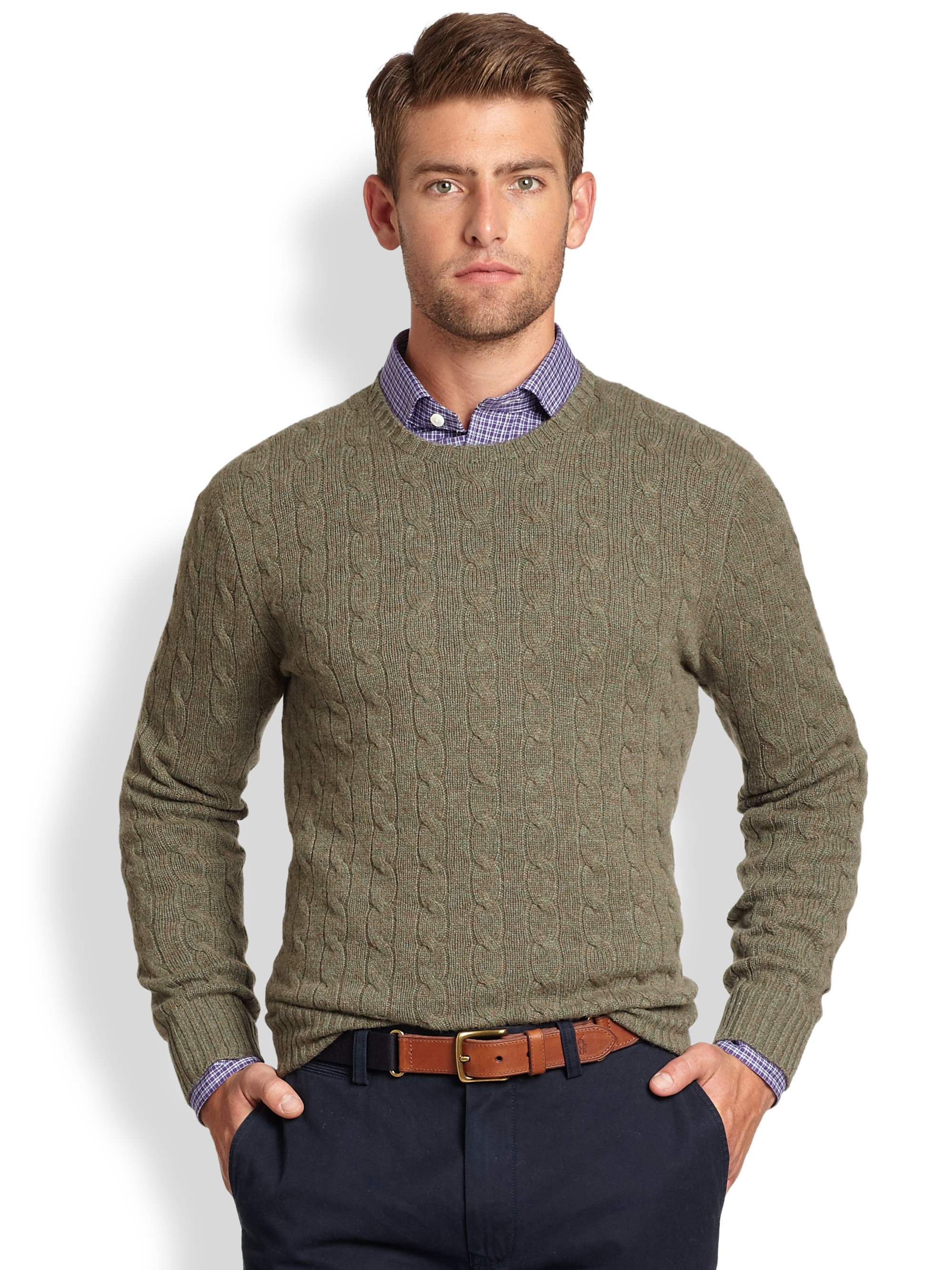 Polo ralph lauren Cable Knit Cashmere Crewneck Sweater in Green ...