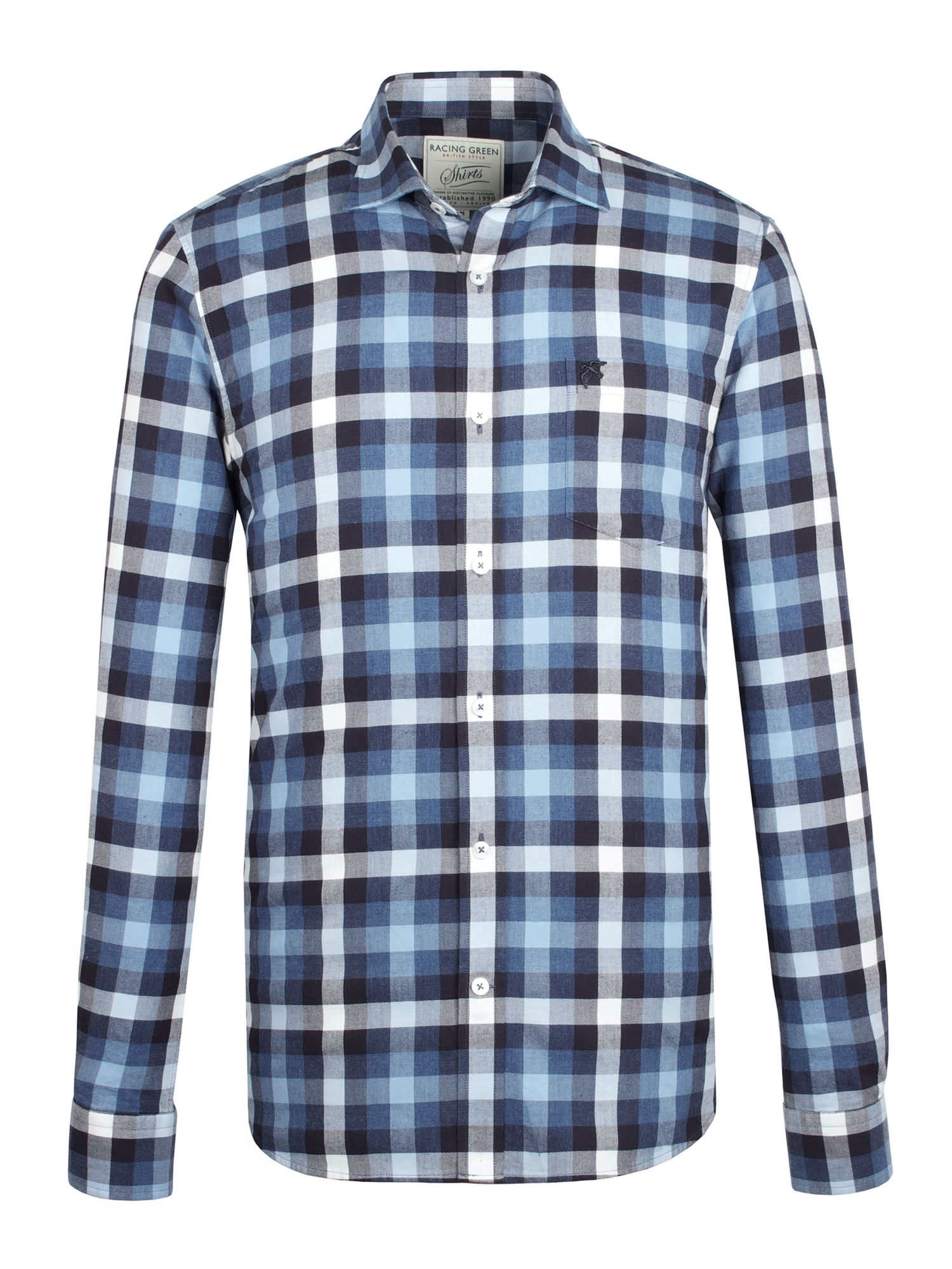 Racing Green Brushed Twill Multi Check Shirt In Blue For