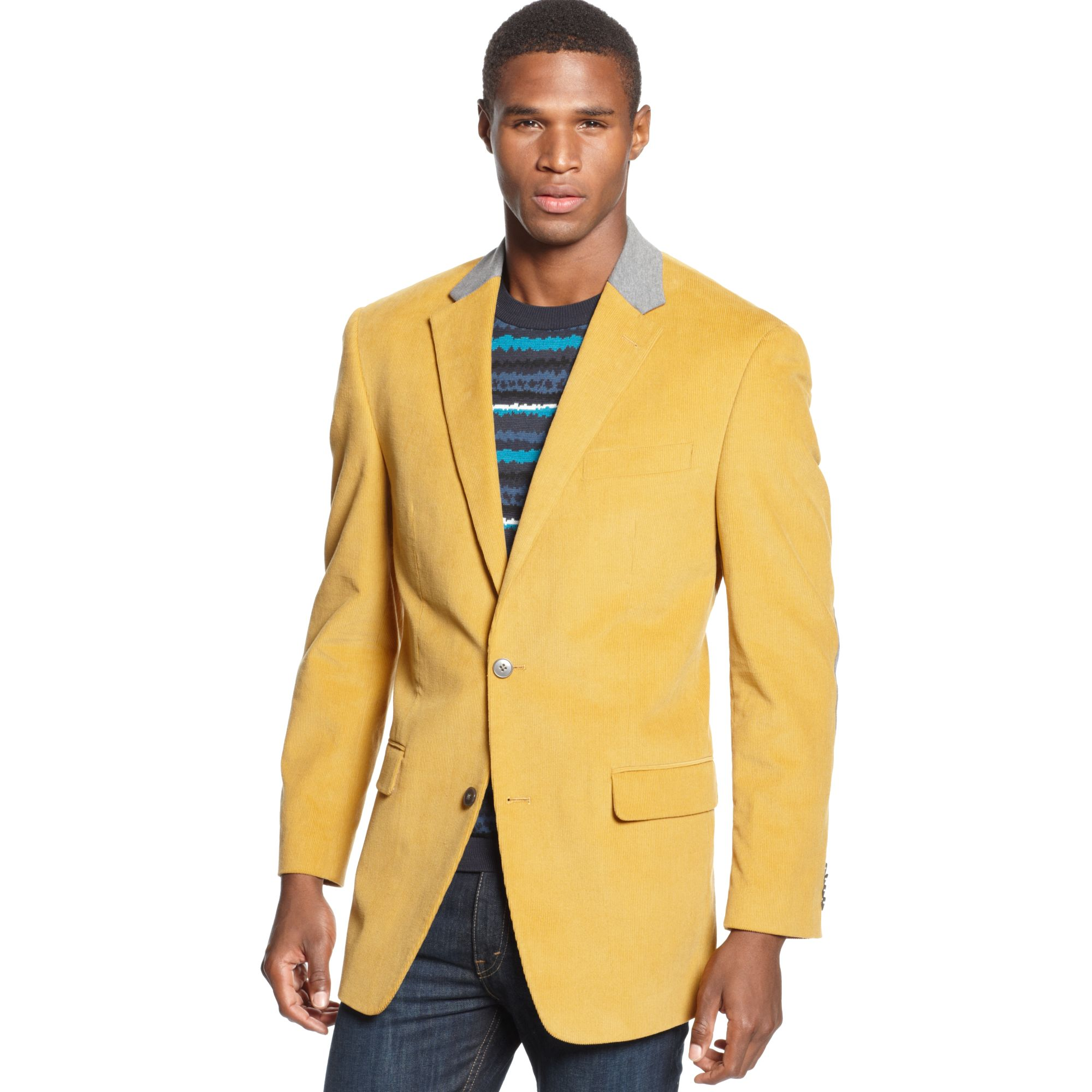 Sean john Solid Corduroy with Elbow Patches Sportcoat in Yellow