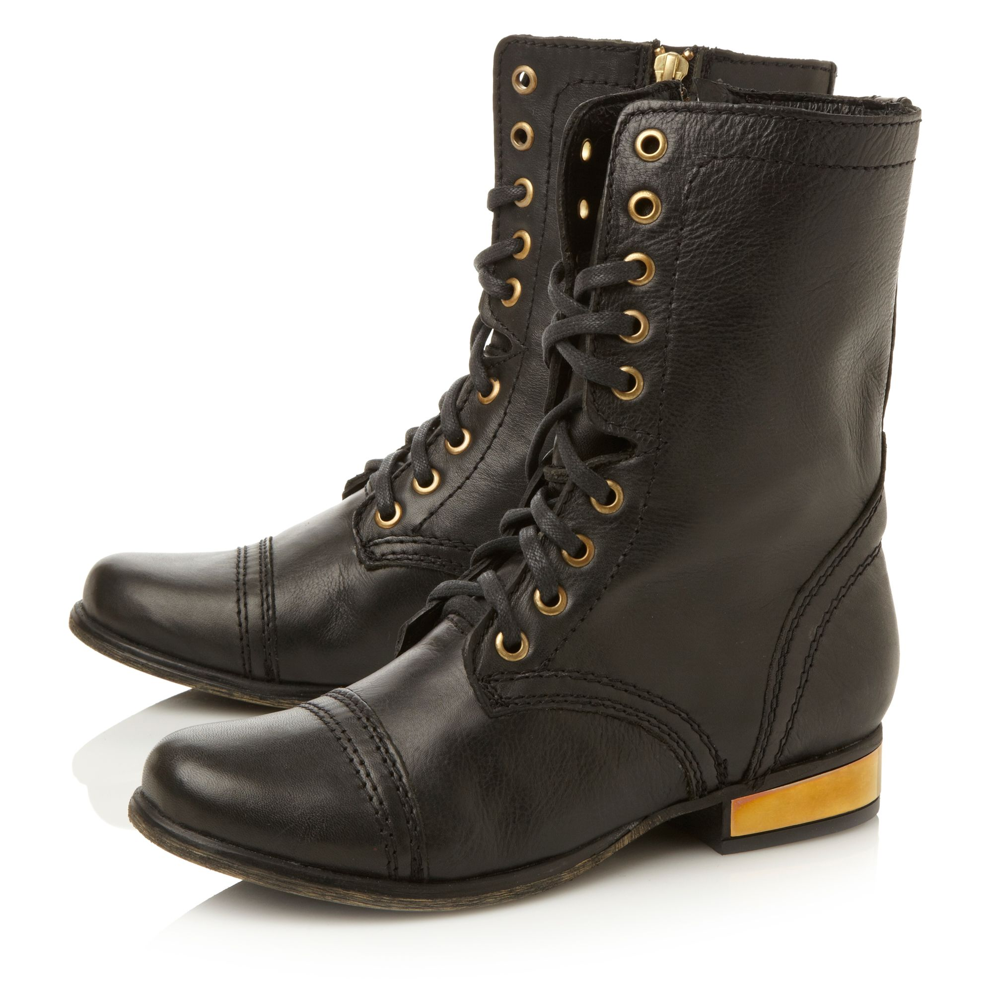 Steve Madden Leather Troopale Sm Metal Detail Worker Boots in Black Leather (Black)
