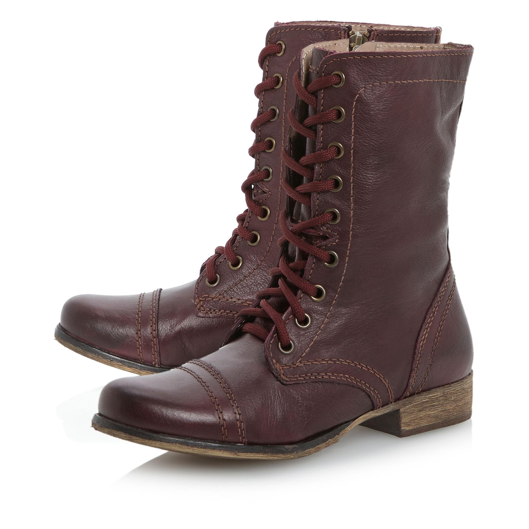 steve madden troopa sm lace up calf boots in brown lyst. Black Bedroom Furniture Sets. Home Design Ideas