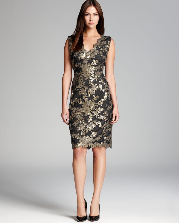 Tadashi Shoji Metallic Lace Sheath Dress Scallop