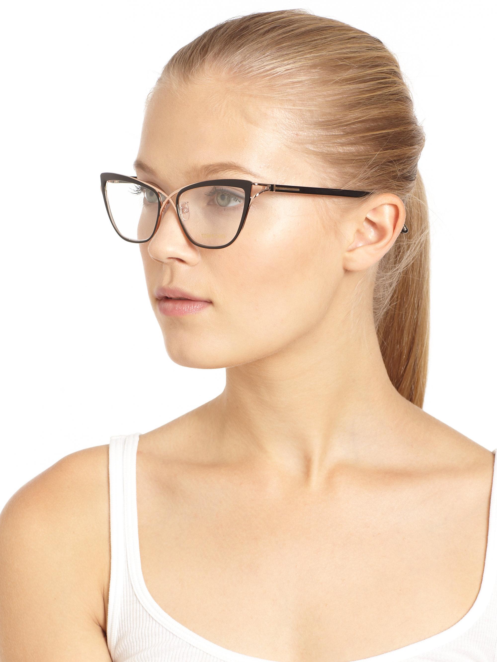 lyst tom ford cat 39 s eye eyeglasses black in black. Black Bedroom Furniture Sets. Home Design Ideas