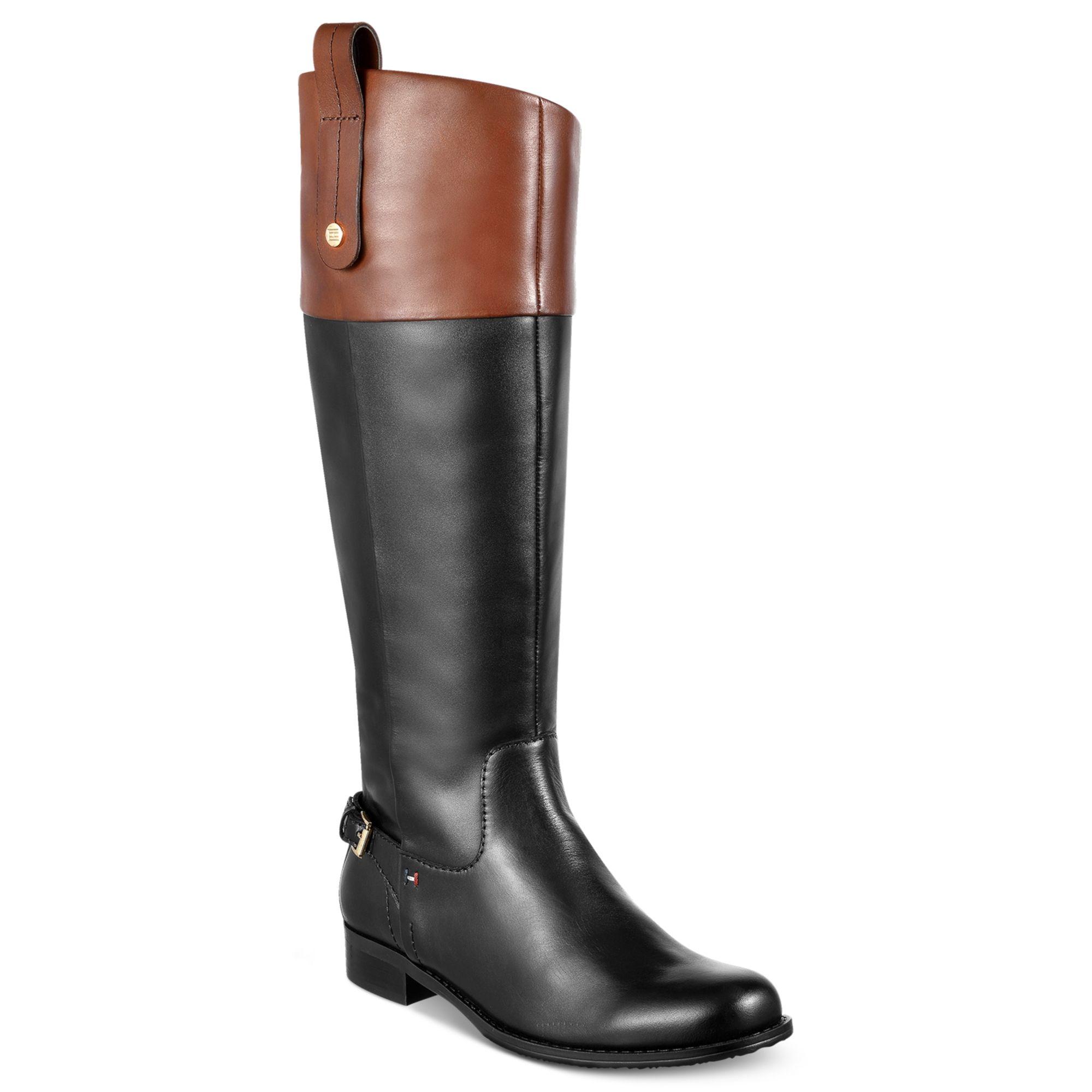 f0d50f79f0c5 Lyst - Tommy Hilfiger Hamden Tall Riding Boots in Black