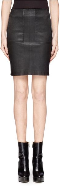 vince leather front bodycon skirt in black lyst