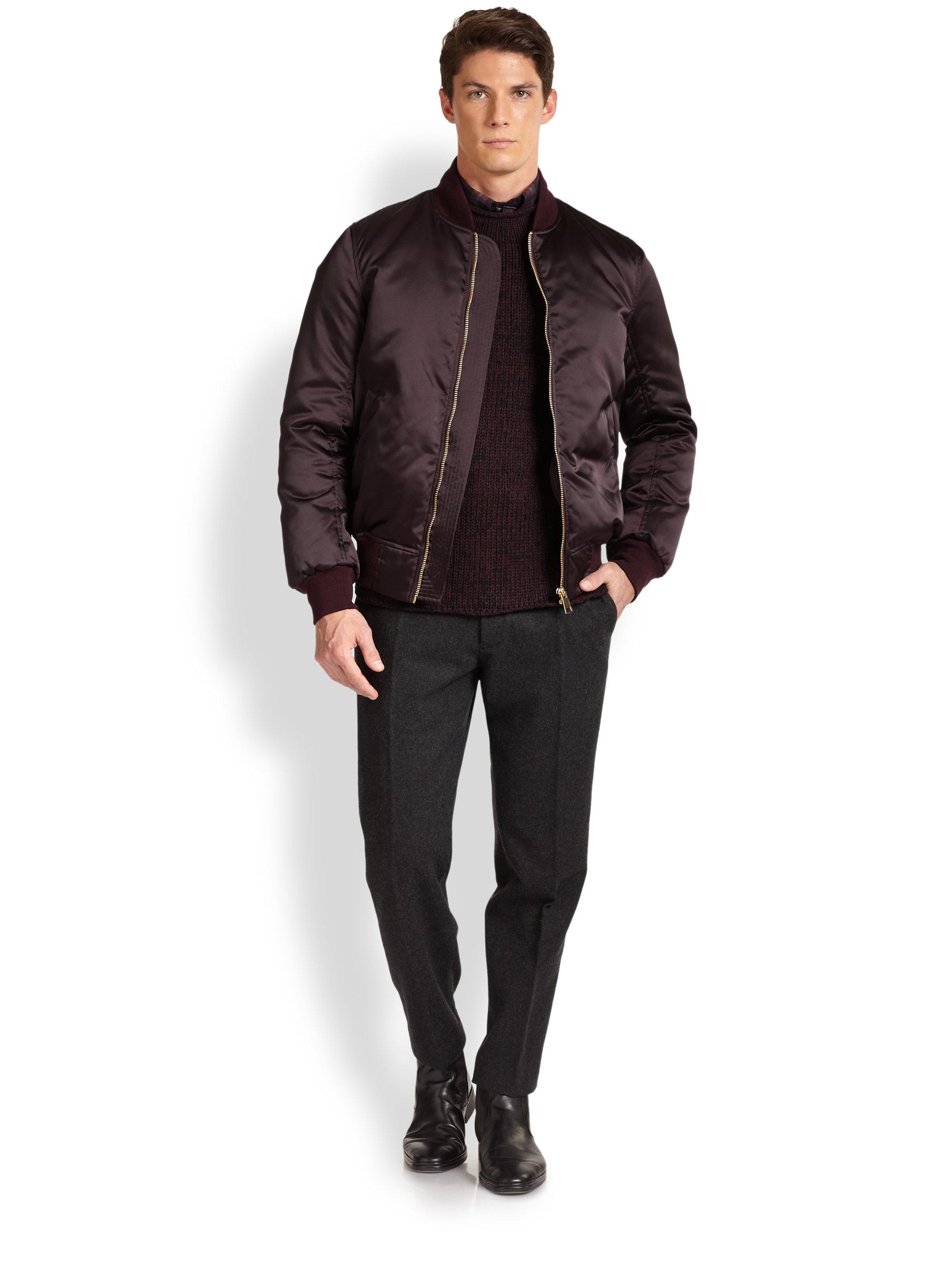 Vince Down Nylon Bomber Jacket in Purple for Men | Lyst