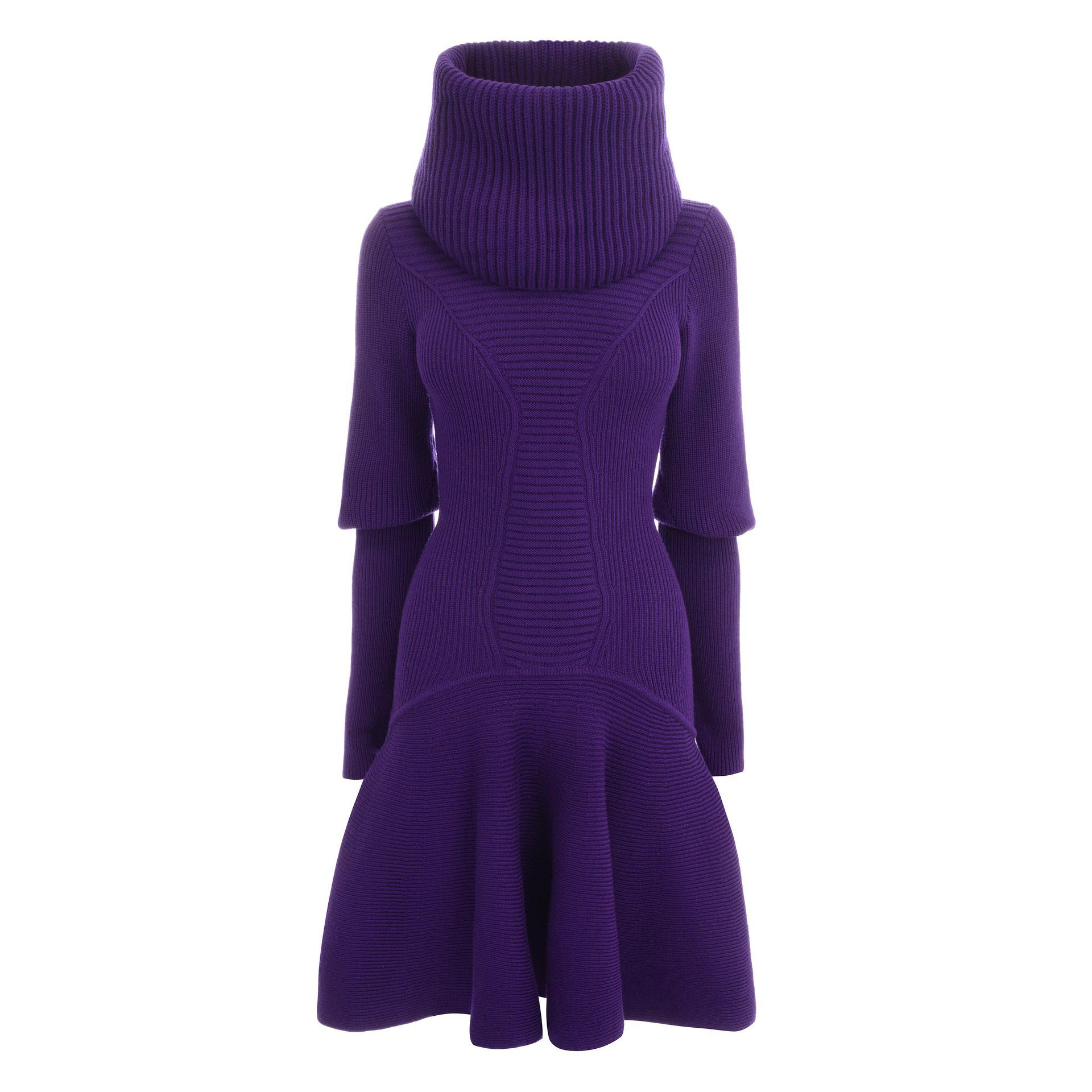 Lyst Alexander Mcqueen Funnel Neck Knit Dress In Purple
