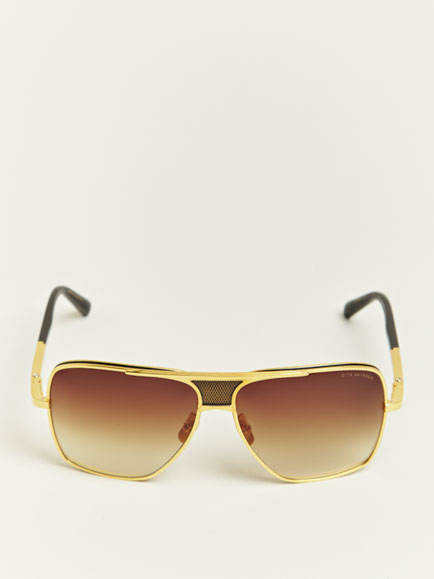dita eighteen carat gold matador sunglasses in metallic