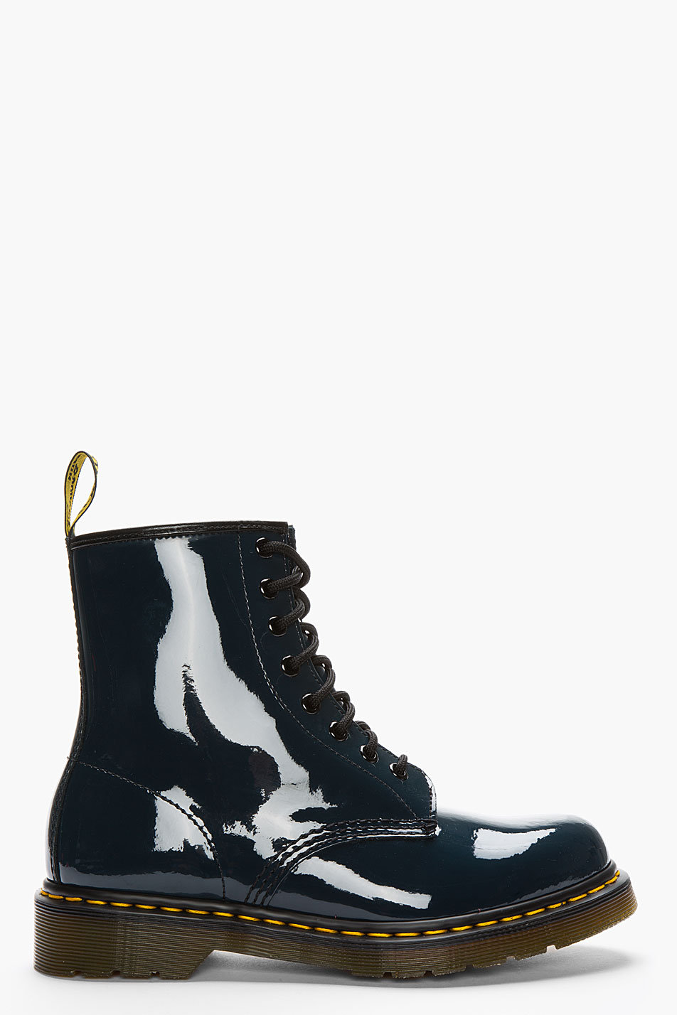 Dr Martens Navy Patent Leather Original 8 Eye Boots In