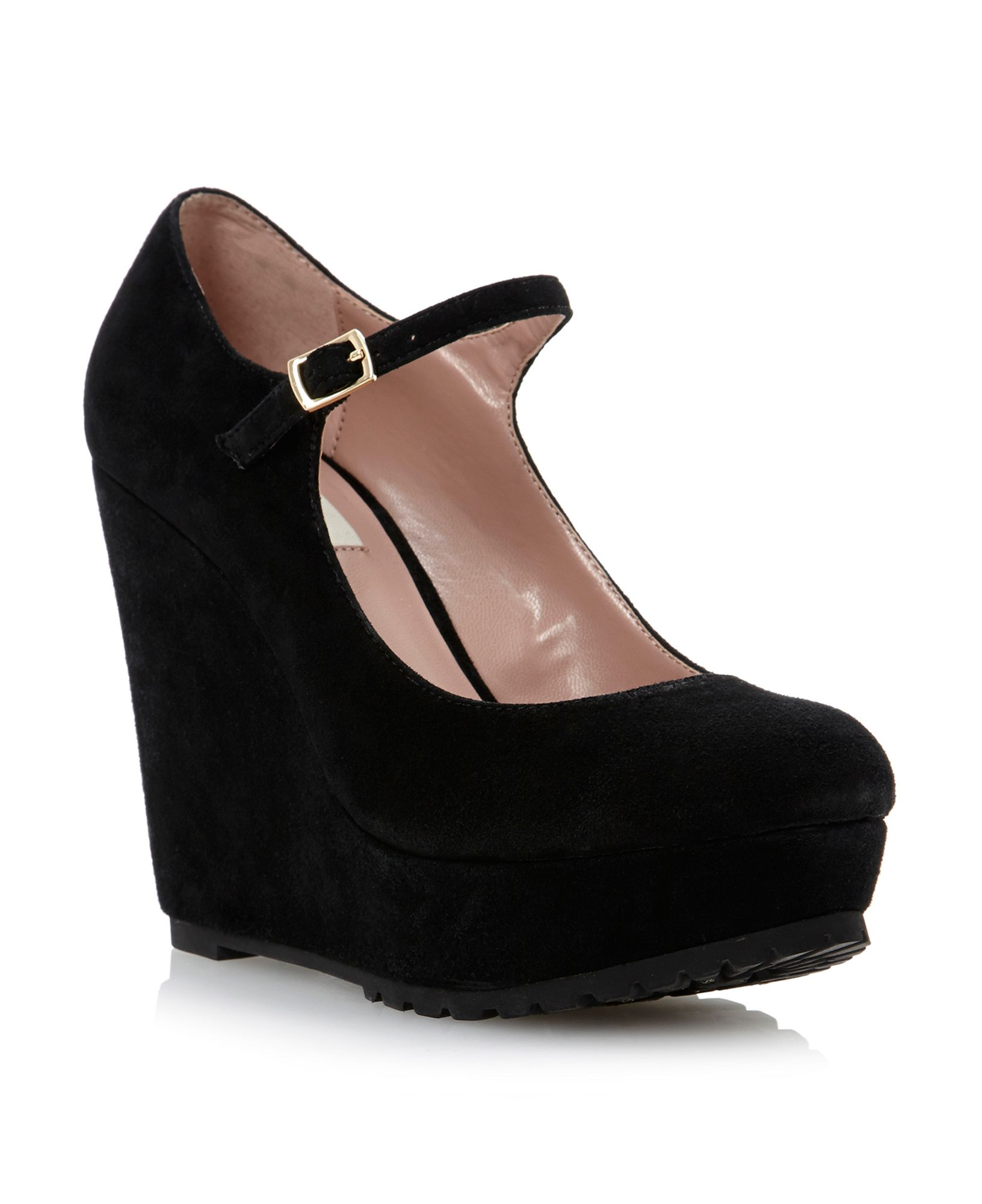 Dune Avengecleated Sole Platform Wedge Shoes in Black | Lyst