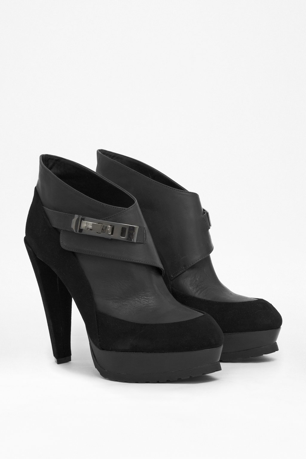 French Connection Nadia High-Heeled Leather Boots in Black