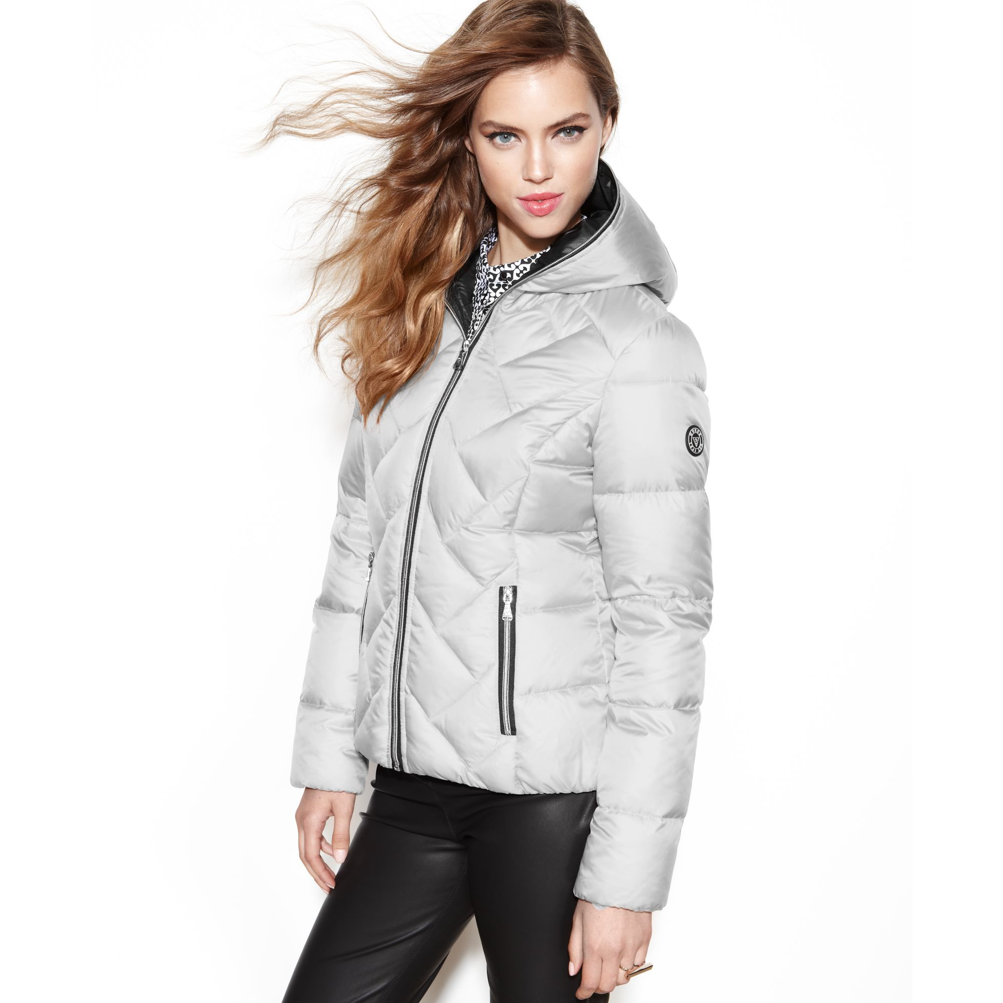 Lyst Guess Coat Hooded Quilted Puffer In Gray