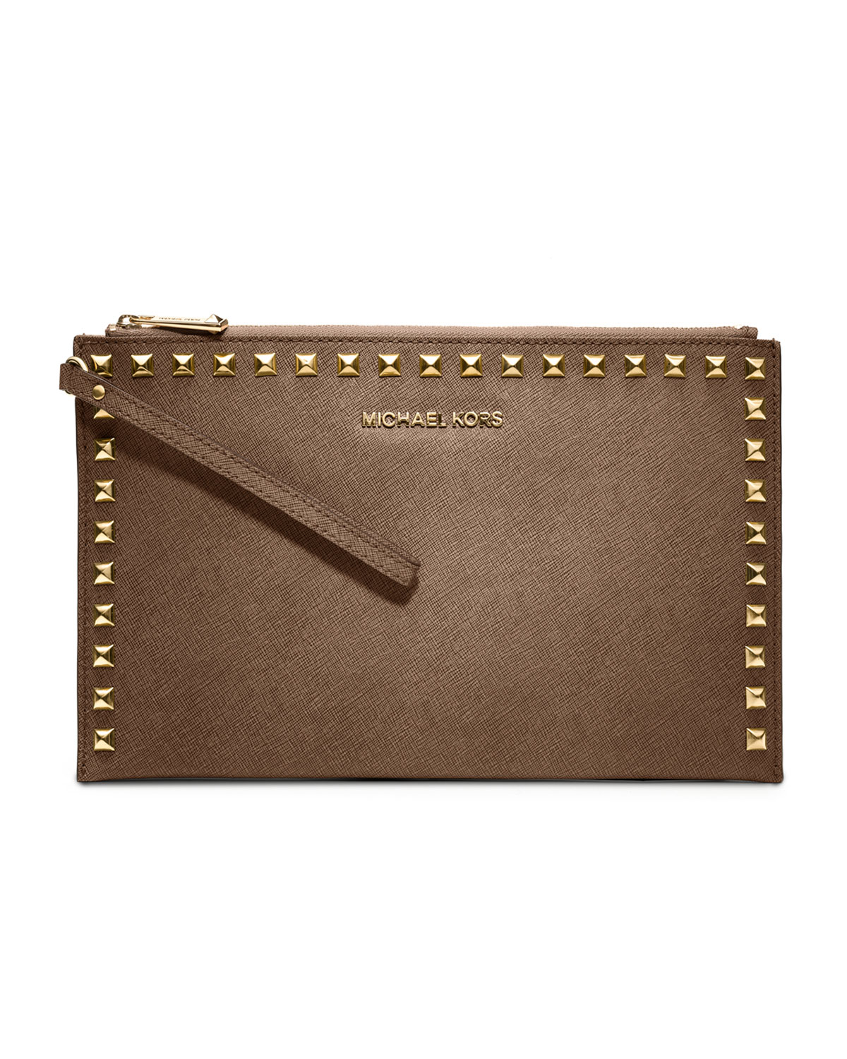 michael by michael kors large selma studded saffiano clutch in khaki lyst. Black Bedroom Furniture Sets. Home Design Ideas