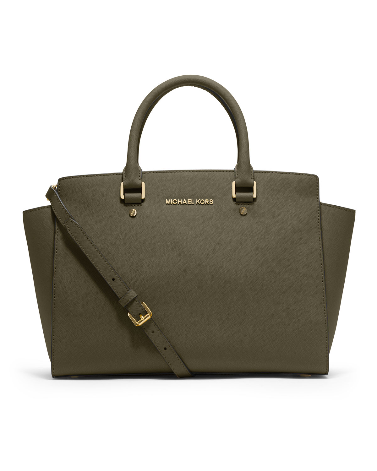 michael michael kors large selma saffiano satchel in khaki loden lyst. Black Bedroom Furniture Sets. Home Design Ideas