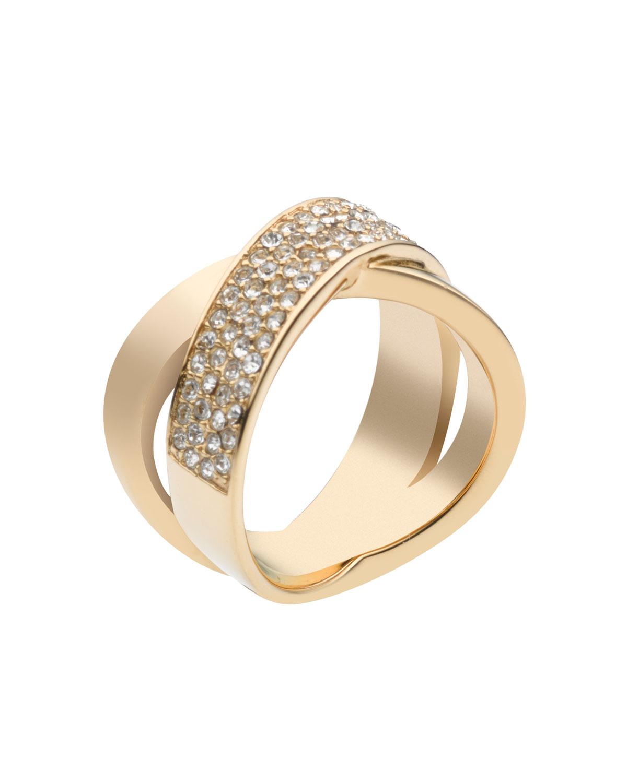 michael kors pave crystal x ring golden in gold lyst. Black Bedroom Furniture Sets. Home Design Ideas