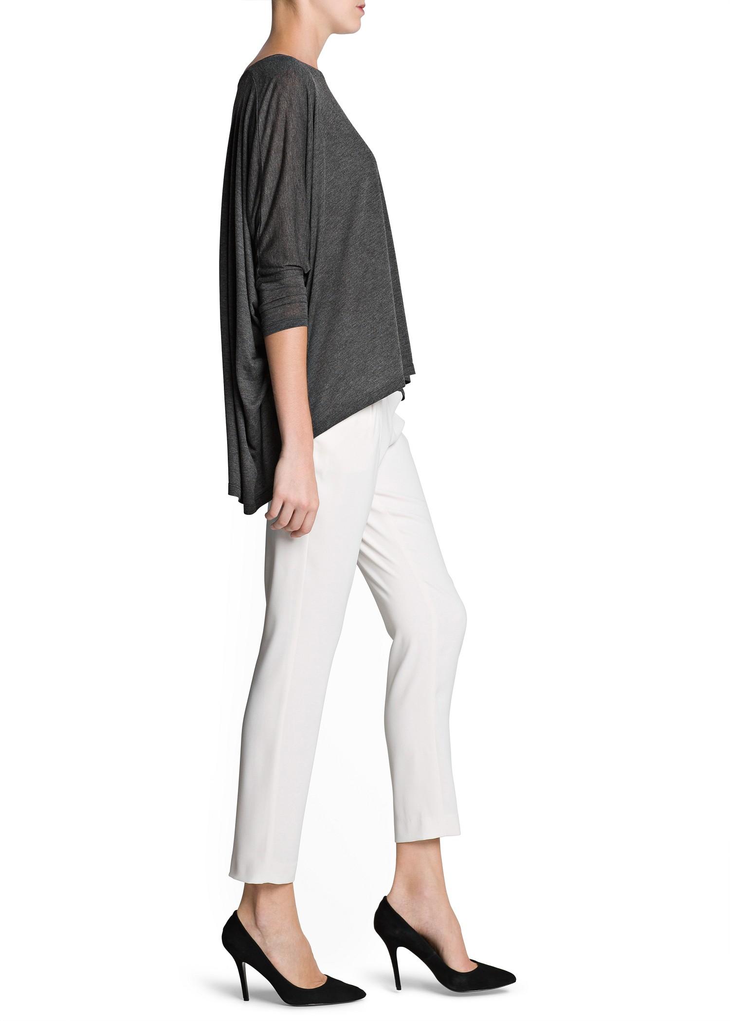 1da6554f7 Mango Dolman Sleeve Loose Fit T-shirt in Gray - Lyst