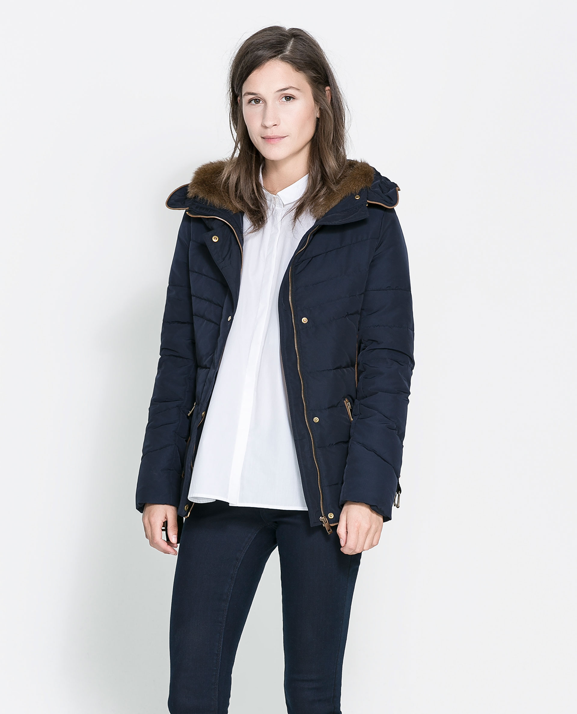 Zara Short Quilted Jacket with Hood in Blue | Lyst