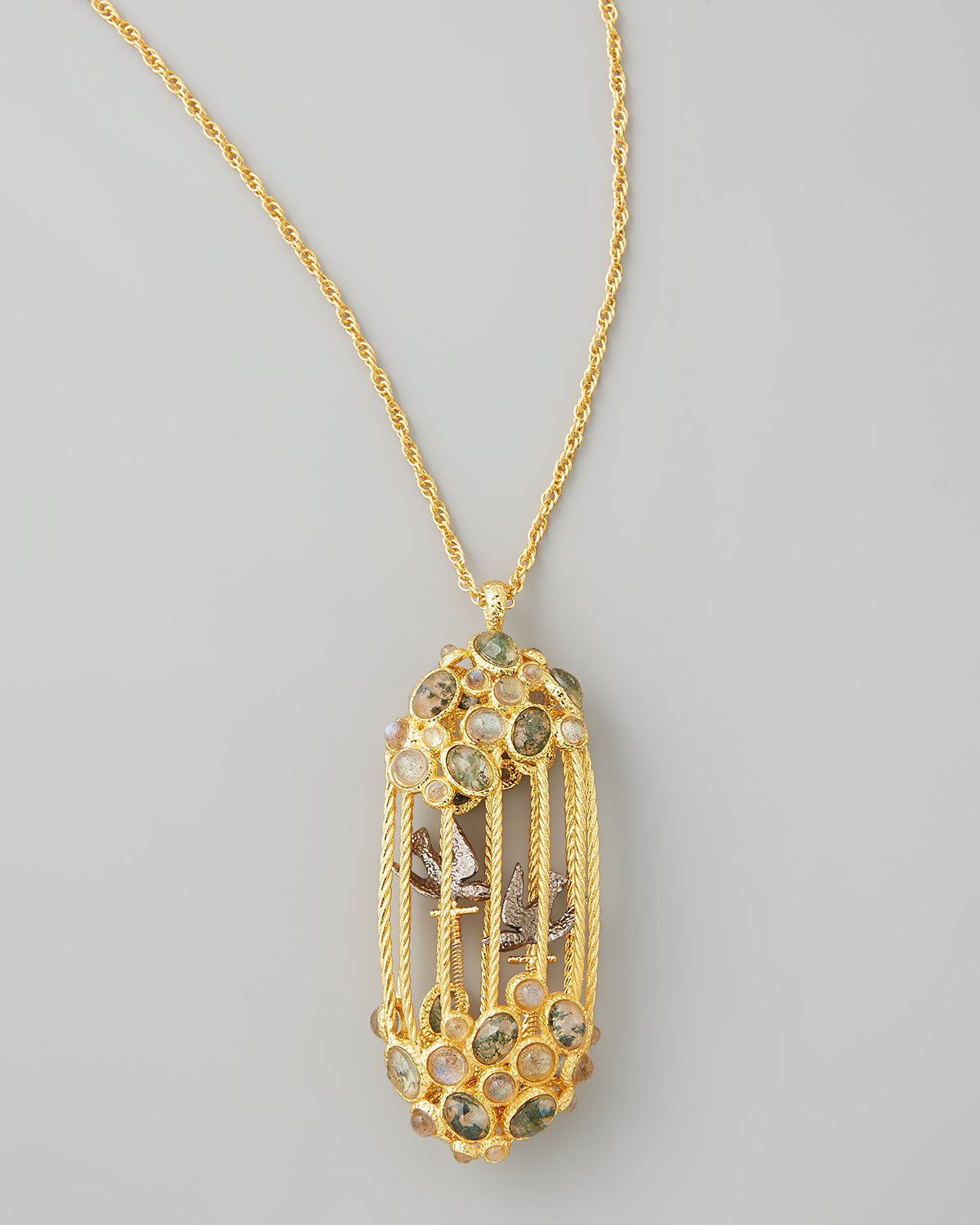 Lyst alexis bittar sanctuary bird cage pendant necklace in metallic gallery mozeypictures Image collections