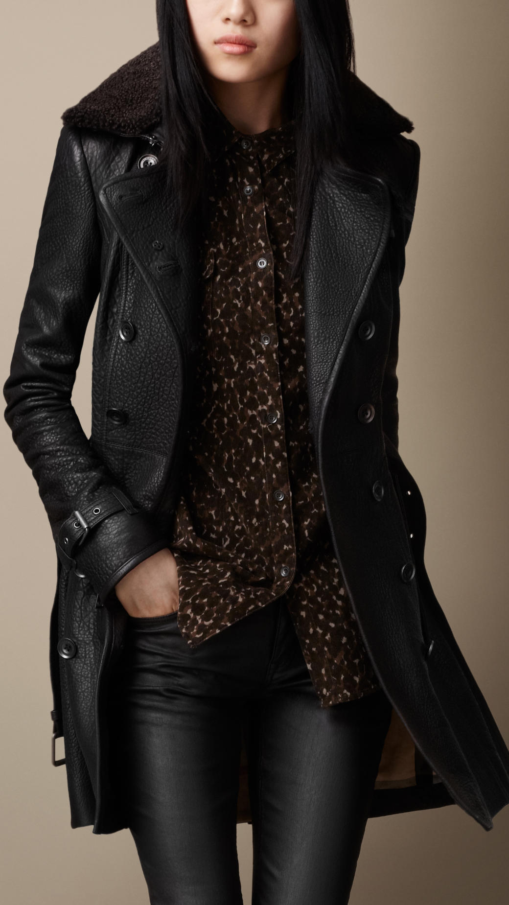 A leather jacket is a jacket-length coat that is usually worn on top of other apparel or item of clothing, and made from the tanned hide of various animals. The leather material is typically dyed black, or various shades of brown, but a wide range of colors is possible.