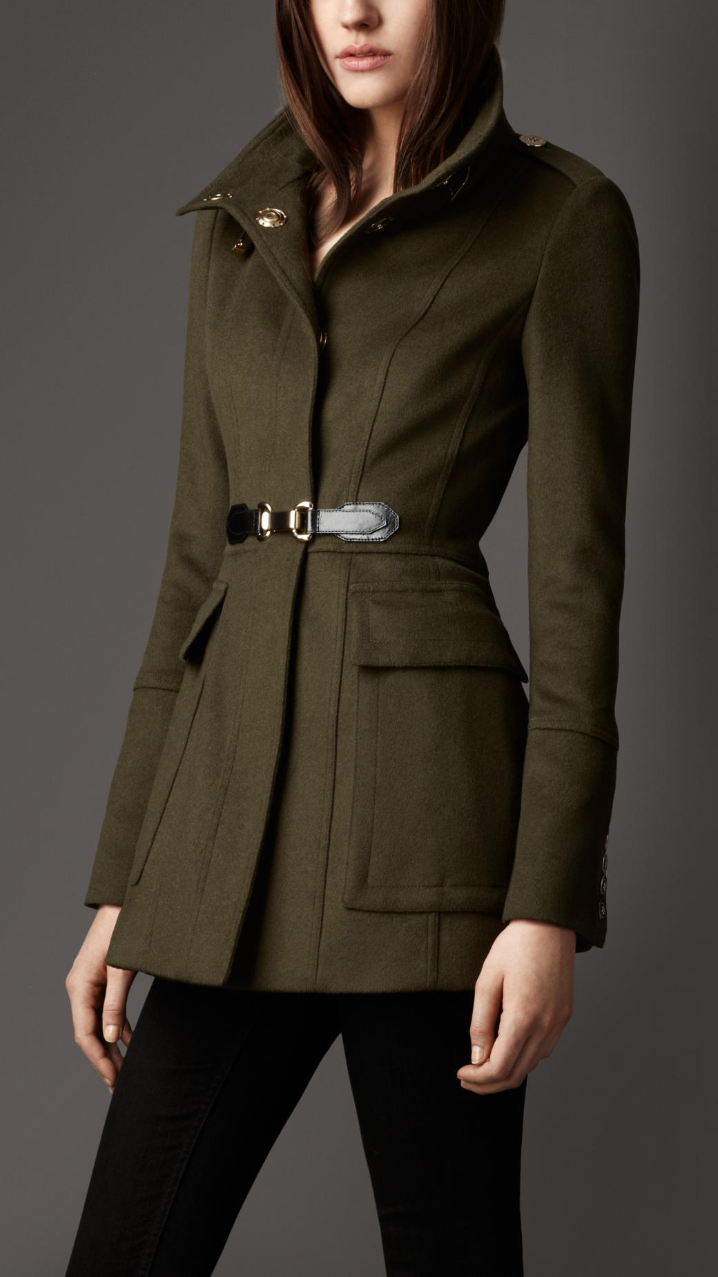Burberry Buckle Detail Wool Cashmere Coat In Brown Lyst