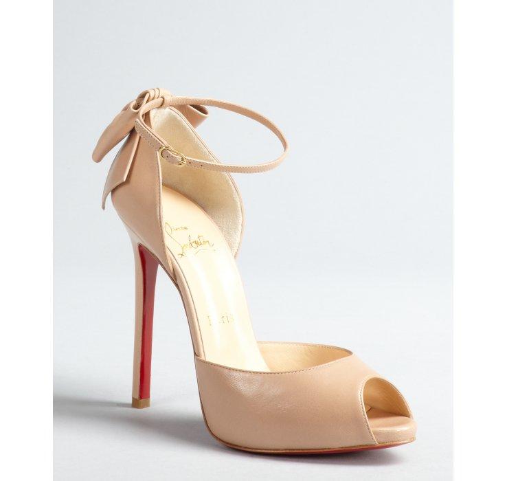 Christian louboutin Nude Leather Bow Embellished Stiletto Dos ...