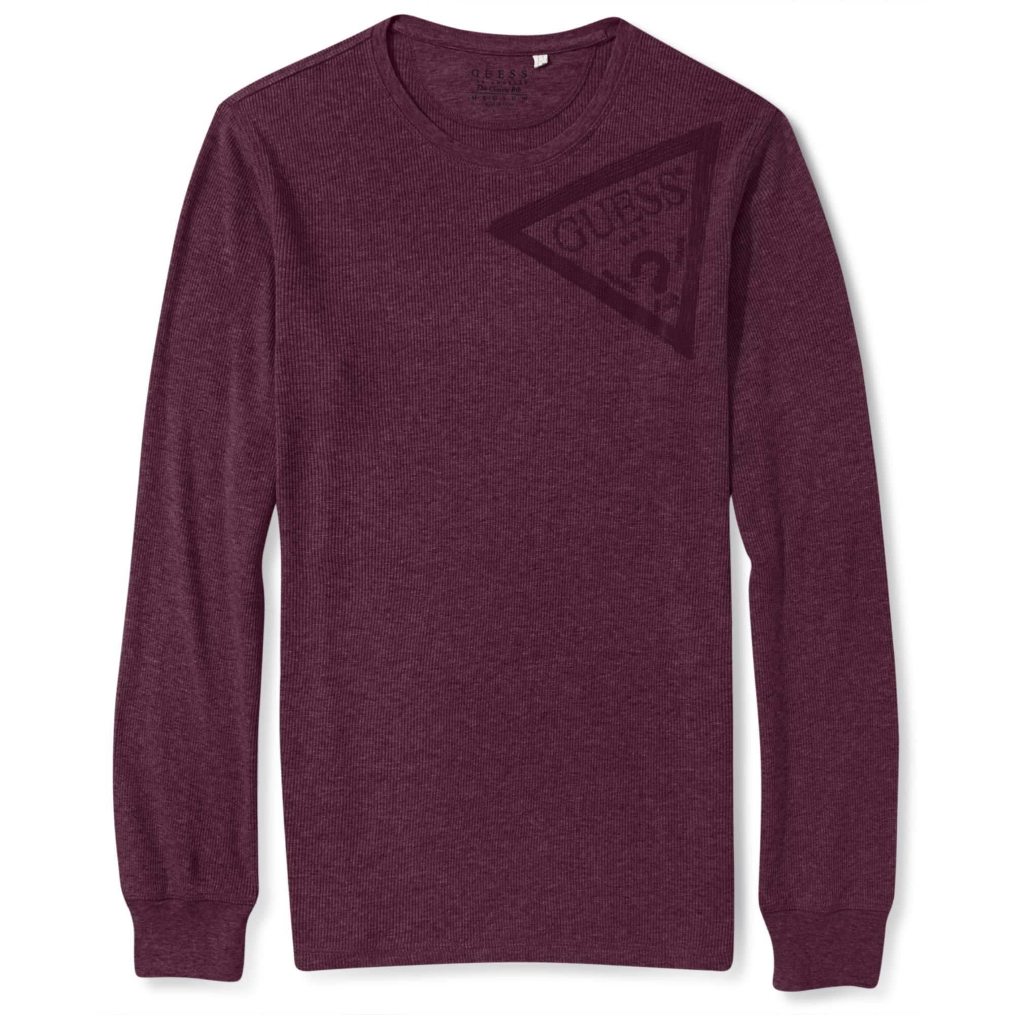 Guess Long Sleeve Shirt Cadwell Logo Crewneck In Purple