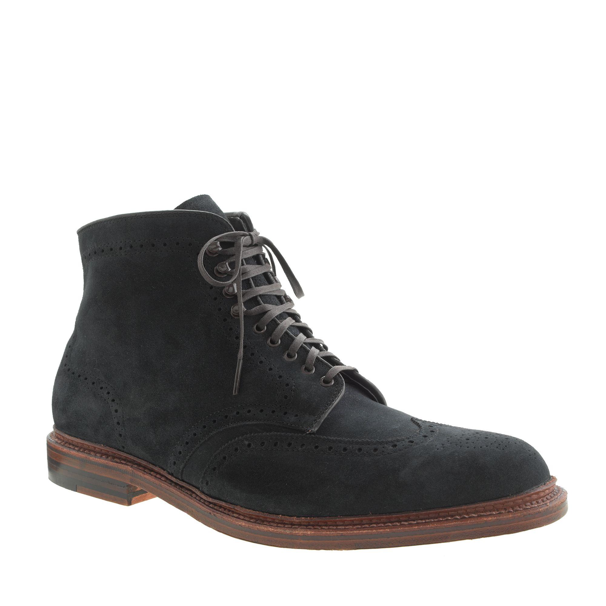 Alden for jcrew wing tip boots in blue for men for The alden
