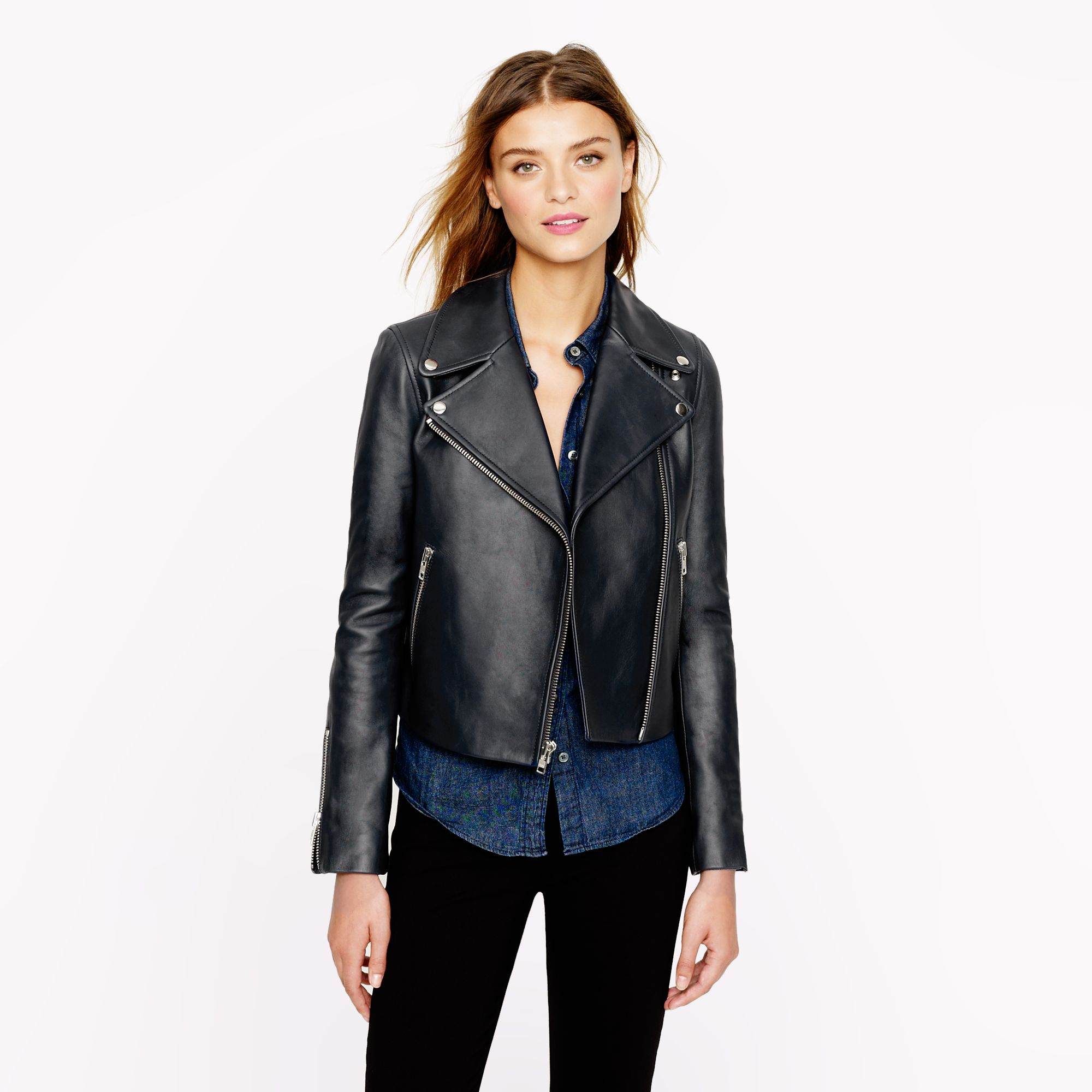 Collection leather moto jacket in blue navy lyst for Jcrew com