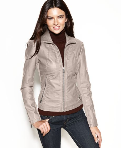 Kenneth Cole Reaction Faux-leather Zippered-cuff Jacket in Beige (Warm