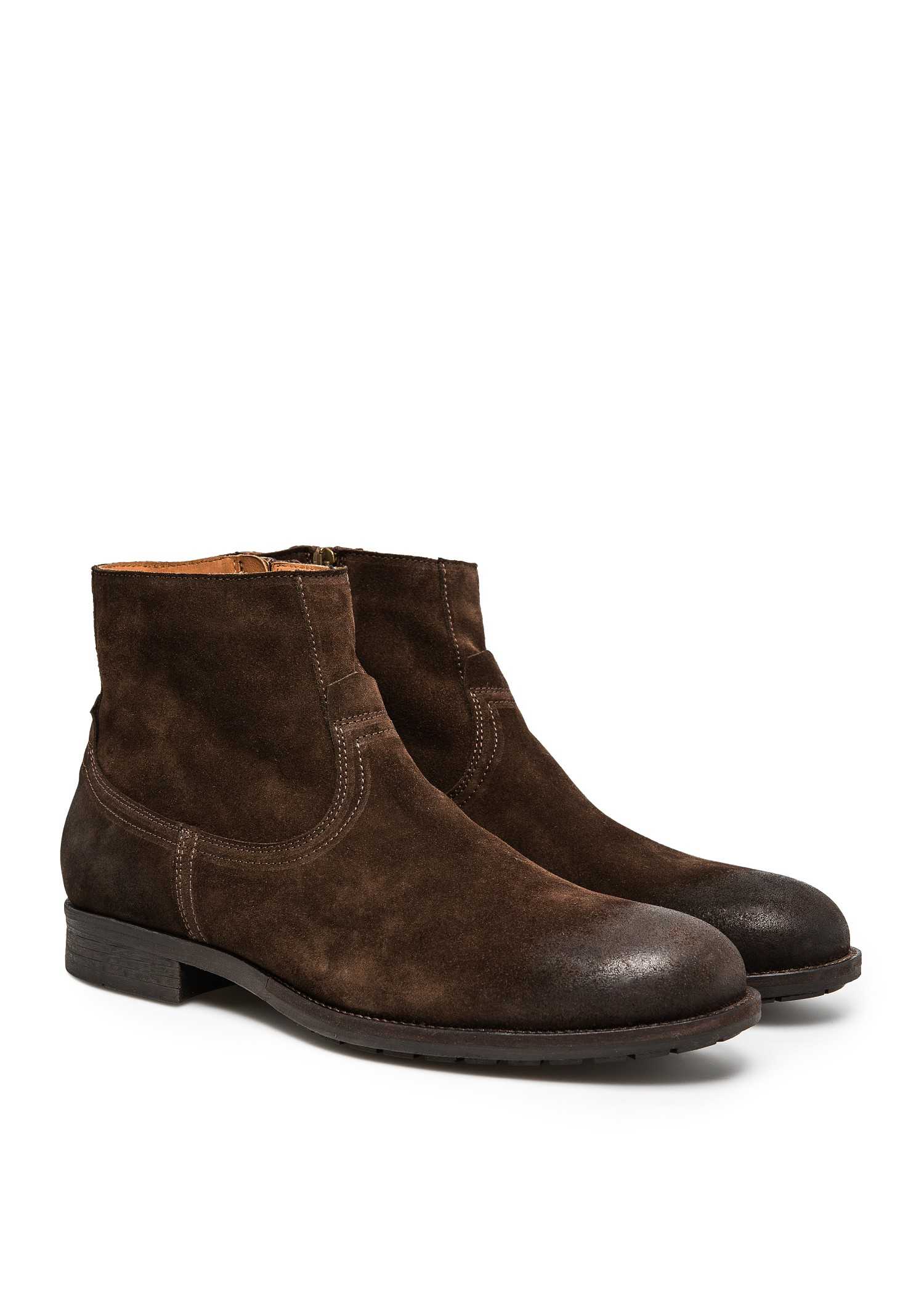 Mango Zipped Suede Ankle Boots In Brown For Men Lyst