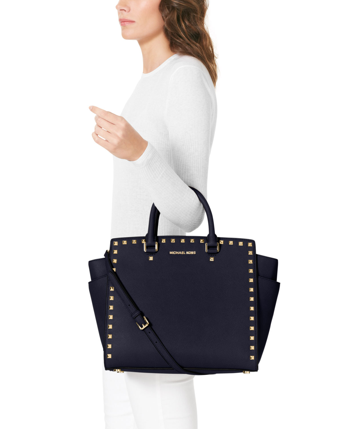 michael michael kors large selma studded saffiano tote in blue lyst. Black Bedroom Furniture Sets. Home Design Ideas