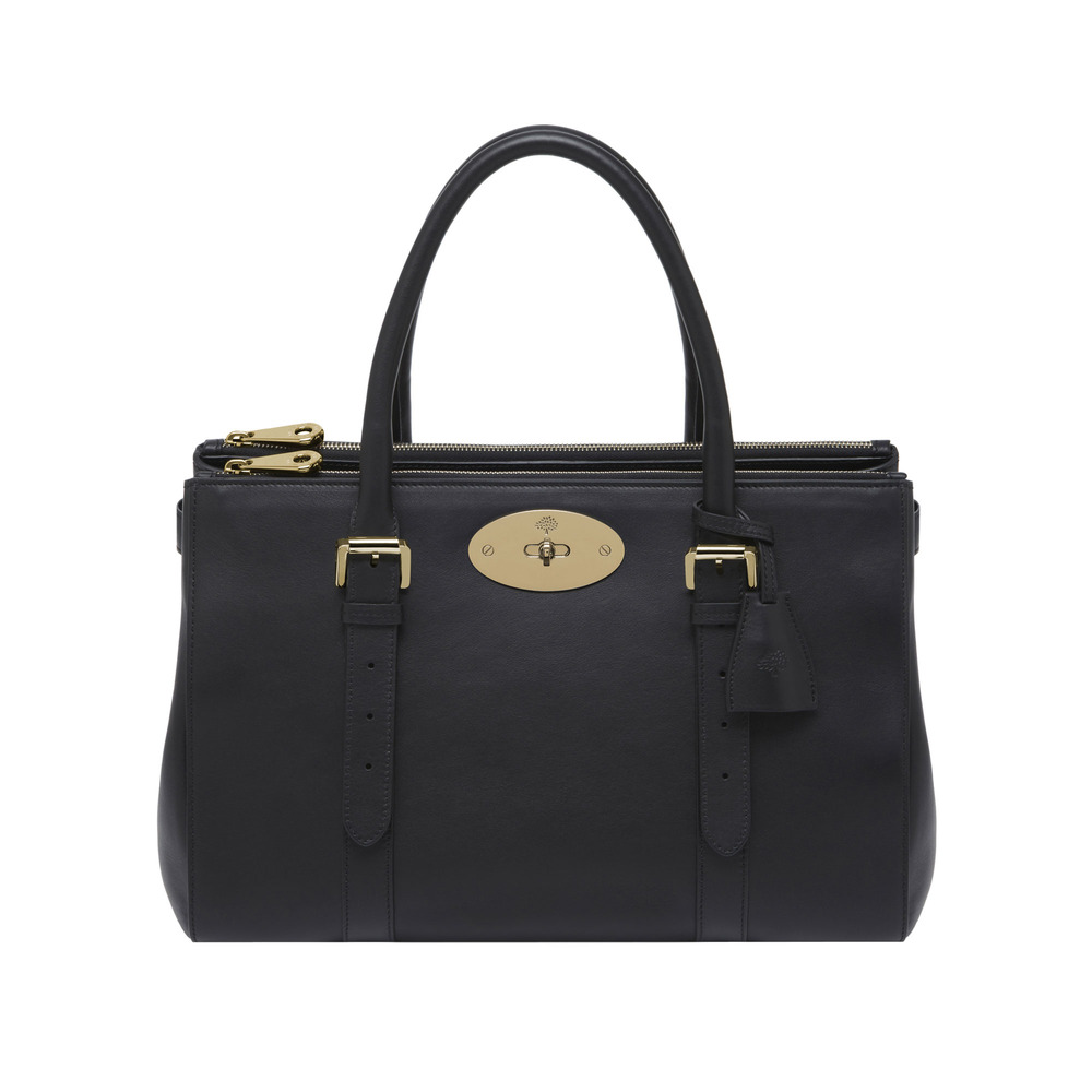 Mulberry bayswater double zip tote bag in black lyst for The bayswater