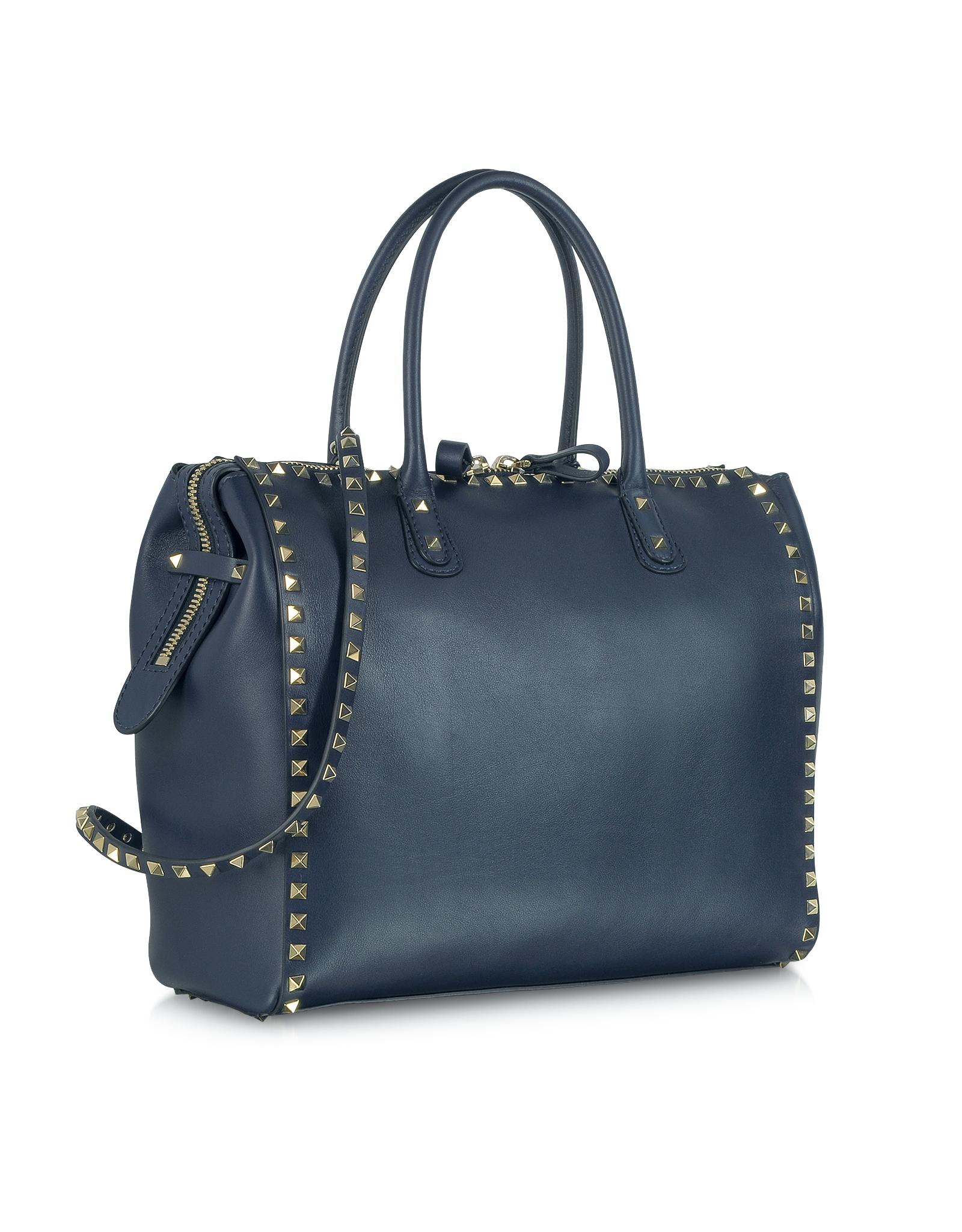 Valentino Rockstud Large Navy Blue Leather Satchel Bag in ...