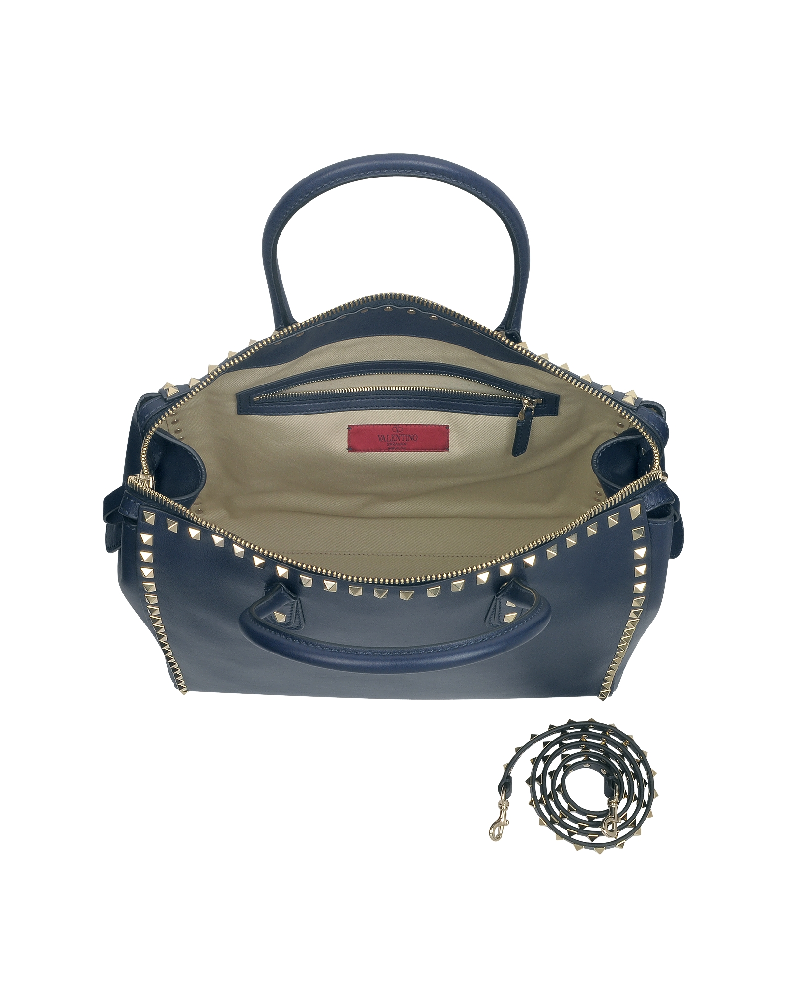 Valentino Rockstud Large Navy Blue Leather Satchel Bag in Blue | Lyst