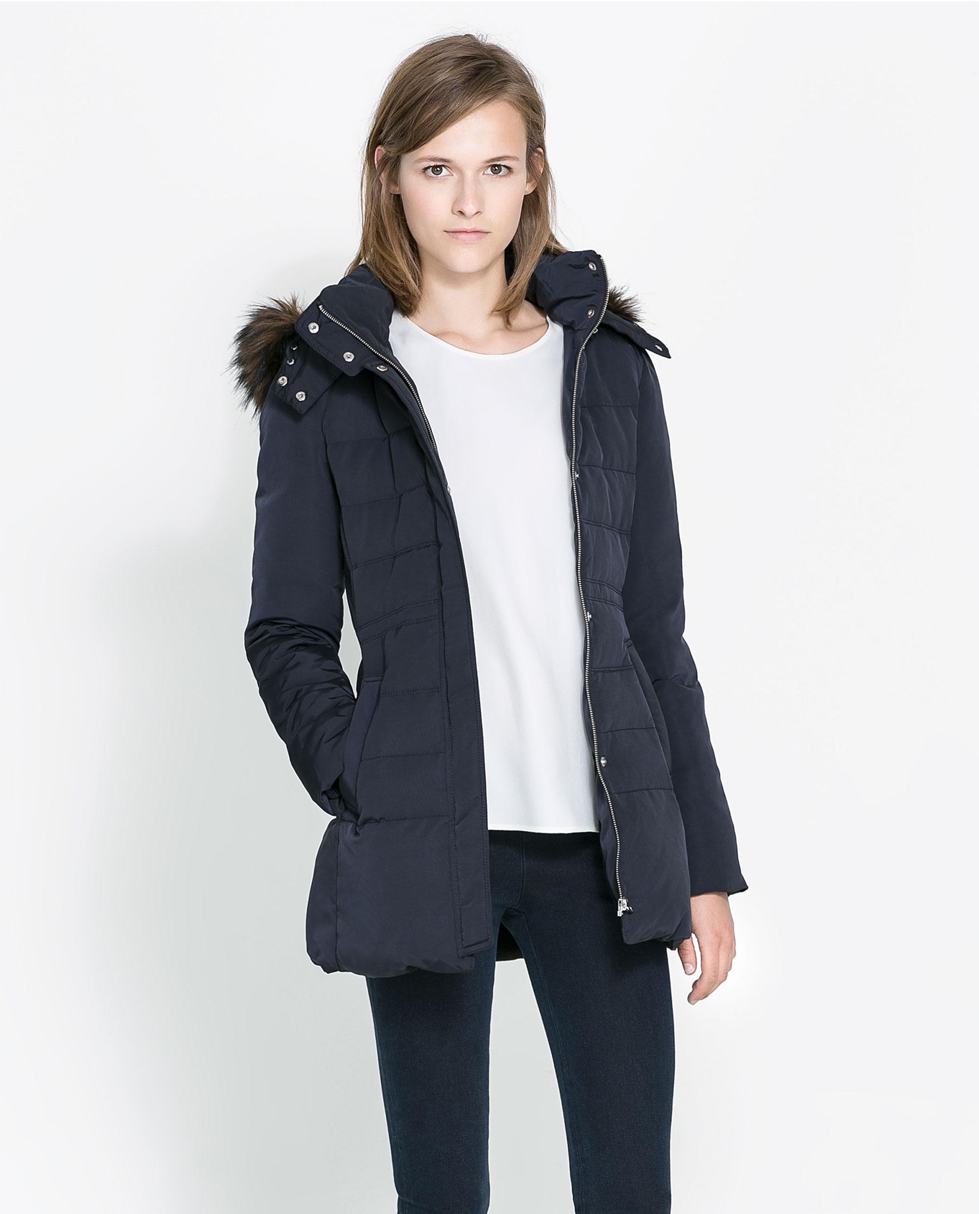 Zara Puffer Jacket With Hood In Blue | Lyst