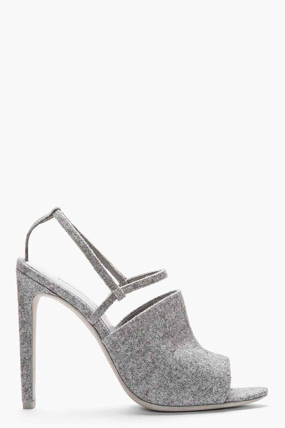 644d68136f90 Lyst - Alexander Wang Grey Wool Slingback Maryna Sandals in Gray
