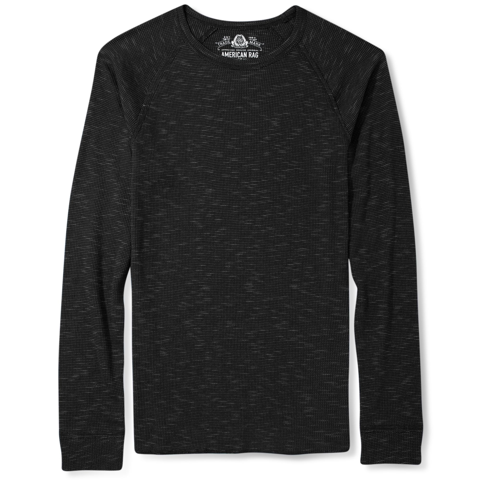 American rag crew neck slub long sleeve thermal shirt in for Mens black thermal t shirts