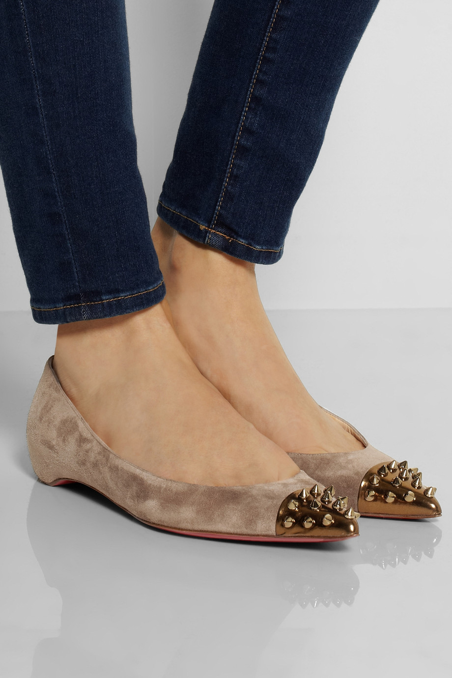 Christian Louboutin Geo Spiked Suede And Leather Ballet