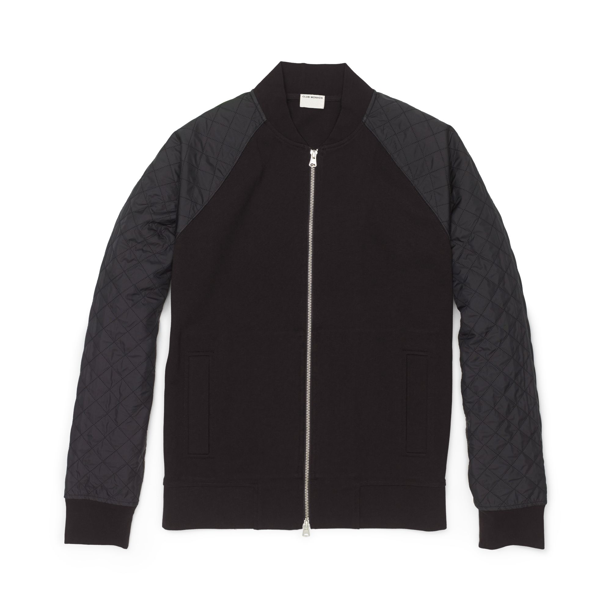 Club Monaco Quilted Sleeve Baseball Jacket In Black For