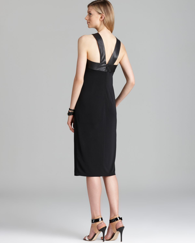 Dkny Halter Dress With Leather Trim In Black Black Black