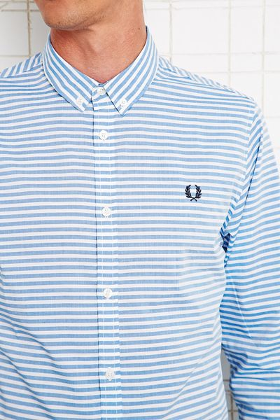 Fred perry horizontal stripe shirt in blue for men lyst for Horizontal striped dress shirts men