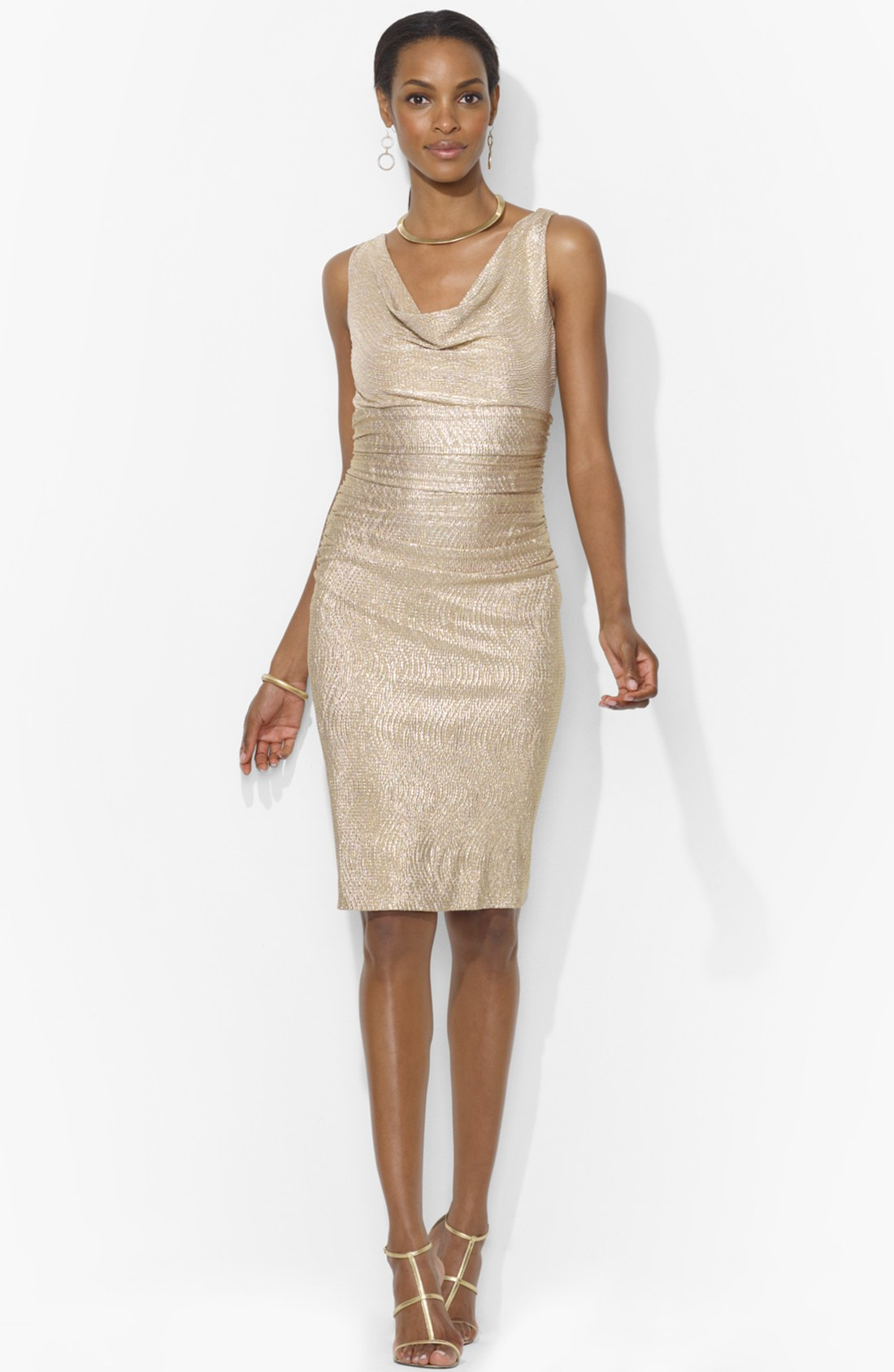 Lauren by ralph lauren metallic jersey sheath dress in for Tj maxx wedding guest dresses
