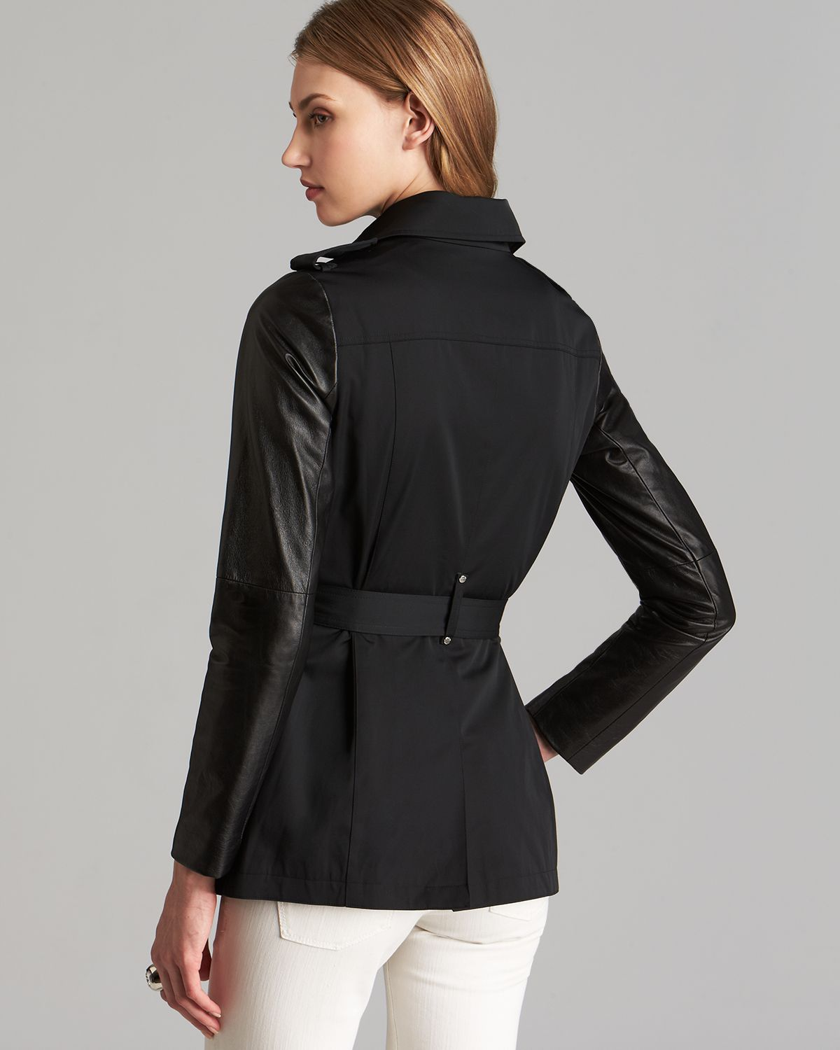 Michael michael kors Leather Trim Trench Coat in Black | Lyst